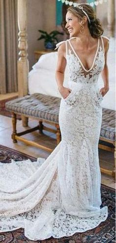 V Neck Lace Mermaid Cheap Wedding Dresses Online Cheap Lace Bridal Dresses Wd478 Online Wedding Dress Cheap Wedding Dress Wedding Dresses Lace