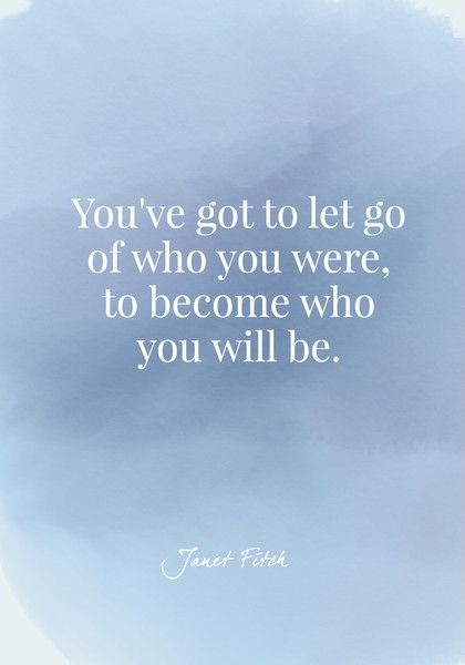 You've got to let go of who you were, to become who you will be. - Janet Fitch - Quotes On Change - Photos