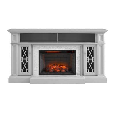 Home Decorators Collection Parkbridge 68 In Freestanding Infrared Electric Fireplace Tv Stand In Gray With Carrara Marble Surround 1357fmm 26 242 The Home De In 2020 Freestanding Fireplace Electric Fireplace Tv Stand Fireplace Tv Stand