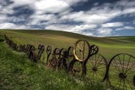 made from over 1000 antique wagon and tractor wheels