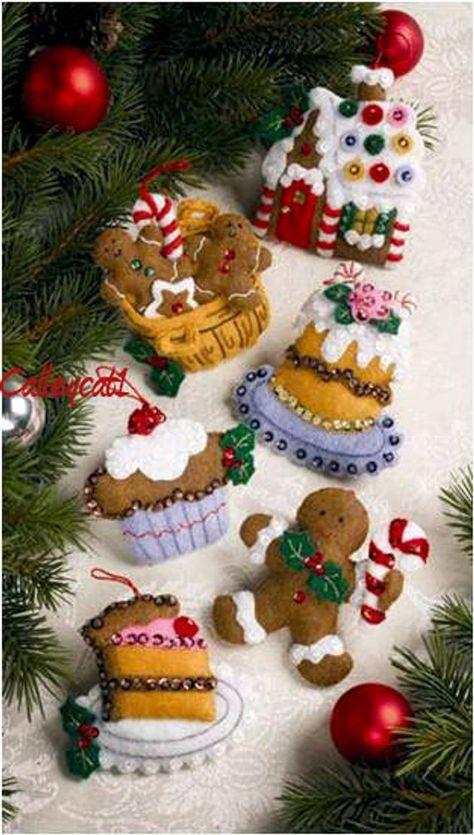 Santa S Sweet Shop Bucilla 6 Piece Felt Ornament Kit 86187