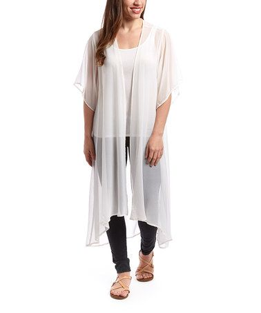 Look what I found on #zulily! White Sheer Open Cardigan by Steve ...