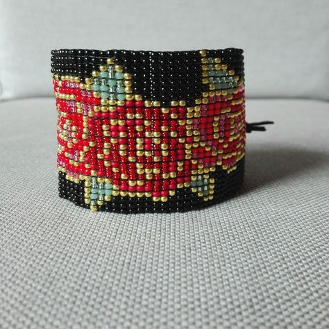 4904da96ddd7a5 RED ROSES BRACELET Woman/Seed Beads Bracelet/Red Roses/Wide Bracelet/Floral  Bracelet/Bead Loom Bracelet/Roses Bracelet/Flower Bracelet