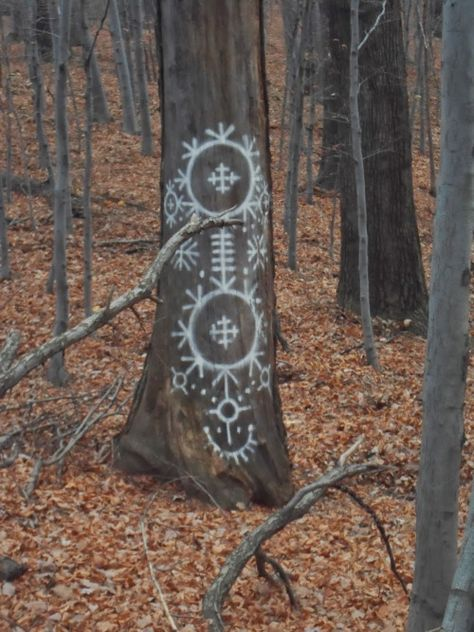 (But use chalk to draw the symbols) Mystical forest drawings. This would be perfect for an outdoor ritual and would make the atmosphere that much more magical. Land Art, Magick, Witchcraft, Mystical Forest, Magic Symbols, Viking Symbols, Egyptian Symbols, Viking Runes, Ancient Symbols