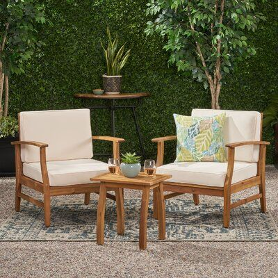Mistana Antonia 3 Piece Seating Group With Cushions Cushion Fabric Cream Wood Patio Chairs Wood Patio Patio Sectional