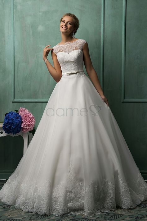 Spitze A-Linie Organza Satin gekappte Ärmel aufgeblähtes bodenlanges Brautkleider