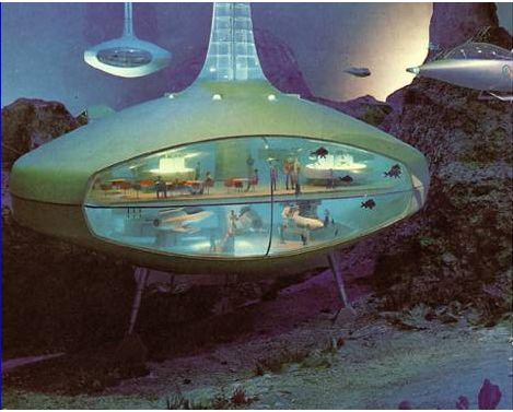 Undersea hotel model from GM Futurama II, 1964 World's Fair : RetroFuturism Arte Sci Fi, Sci Fi Art, Futurama, World Of Tomorrow, Diesel Punk, Atomic Age, Science Fiction Art, Futuristic Architecture, Futuristic Design