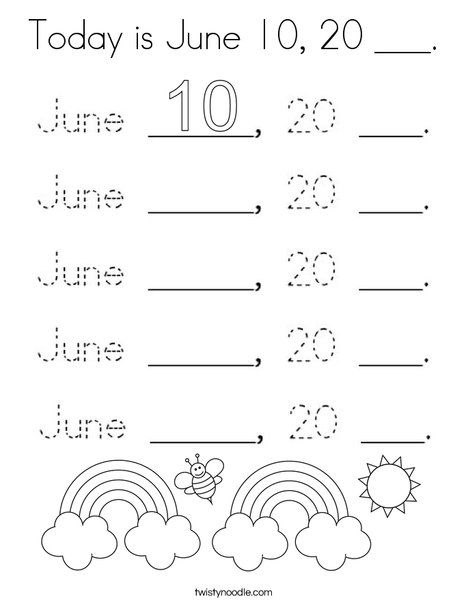 Today Is June 10 20 Coloring Page Twisty Noodle Coloring Pages Holiday Lettering Mini Books