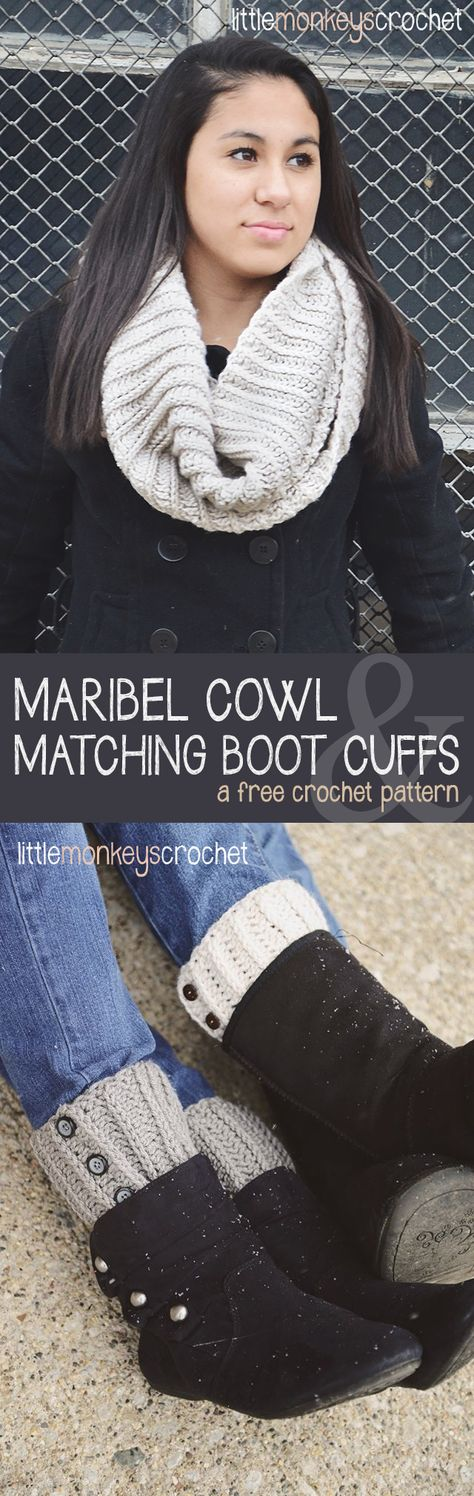 Click here for the free pattern! Maribel Cowl & Boot Cuffs | Free crochet pattern by Little Monkeys Crochet