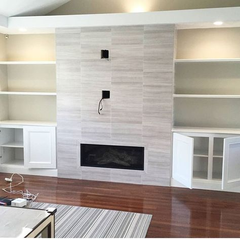 Love the idea of this tv / fireplace wall with built ins on either side.