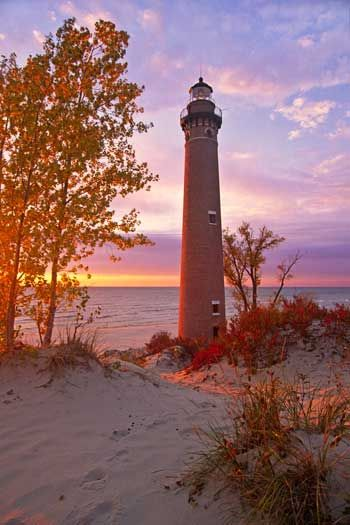 Little Sable Point Lighthouse, Silver Lake Sand Dunes, Lake Michigan