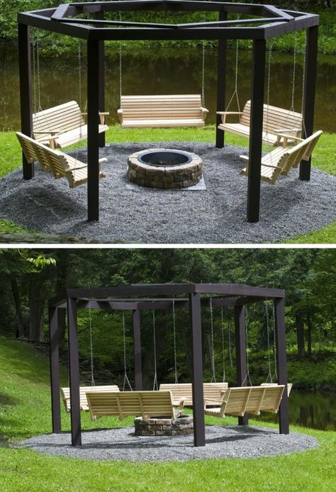Fire Pit Swing Set - What's Better Than Sitting Around A Campfire, Drinking Beer? How About Swinging Around A Campfire, Drinking Beer... HaHaHa