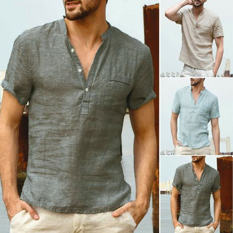 Rétro Style Chinois Hommes coton Chemise lin chanvre loose manches longues Tops T-Shirt