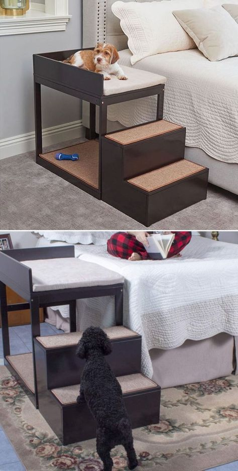 If you are among those who want the pet to sleep next to you without taking up any of your personal space – the Penn Plax Buddy Bunk – a multi-level pet bed is what you should be looking at. Puppy Room, Dog Ramp, Diy Dog Bed, Animal Room, Dog Furniture, Dog Items, Pet Beds, Dog Houses, Diy Stuffed Animals
