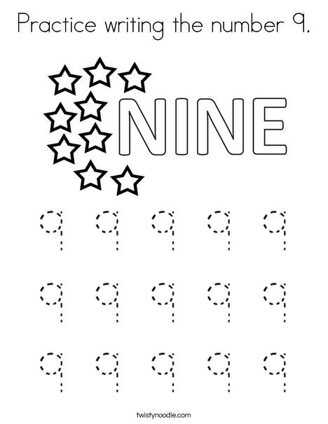 Practice Writing The Number 9 Coloring Page Twisty Noodle Writing Practice Writing Numbers Writing