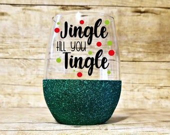 When Is Christmas In July 2020 Celebration On Etsy Jingle juice wine glass Christmas in july gift holiday wine | Etsy