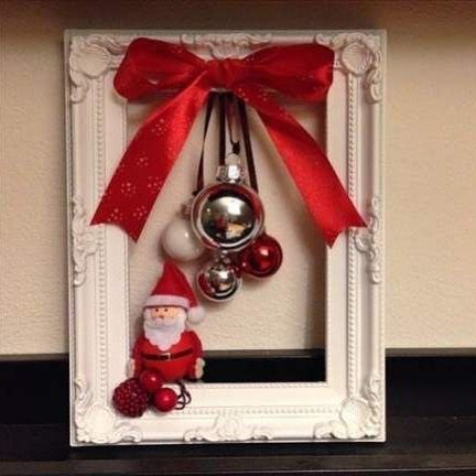 I Love Finding Simple Decorations Like This On Pinterest For Inspiration Just An Old Frame And Christmas Wreaths Christmas Decor Diy Cheap Cheap Christmas Diy