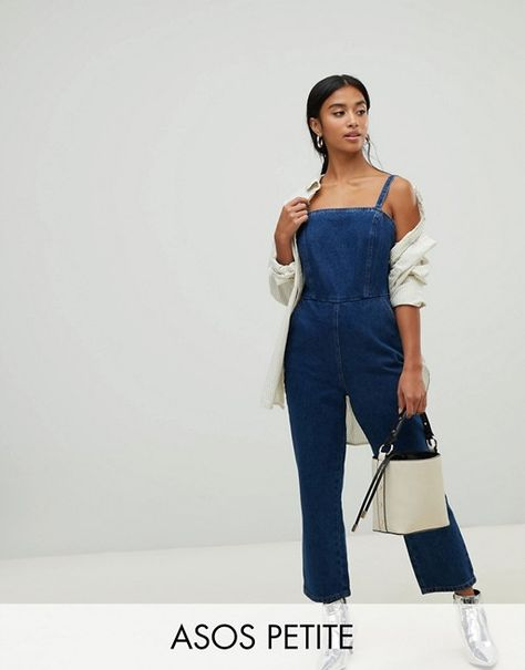 release info on double coupon superior materials DESIGN PETITE denim jumpsuit with strappy back in midwash ...
