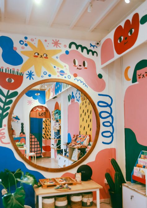 """With bold colours and characters, Martcellia Liunic's works are """"the right combination of cute and trippy"""" Bedroom Decor, Wall Decor, Mural Wall Art, Aesthetic Room Decor, Room Inspiration, Playroom, Kids Room, House Design, Colours"""