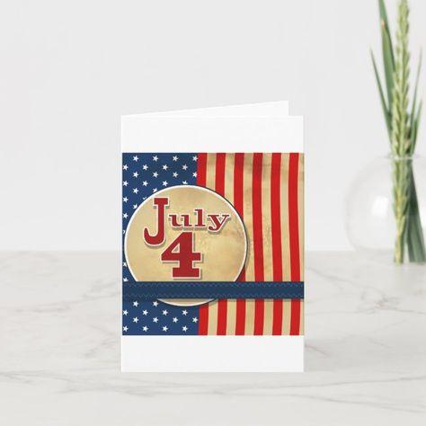 USA Patriotic CardRedWhiteBlue Dimensional Flowers on Burlap Paper