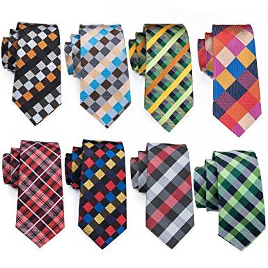 Barry.Wang Mens Neckties Classic Plaid Tie Set for Men Black