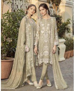 Misty grey pant kameez with dupatta. Work - Heavy embroidery on kameez with embroidery and border work on dupatta. Note : The product will be stitched (long style) as