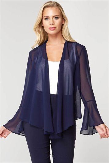 Roman Originals Women Longline Chiffon Jacket
