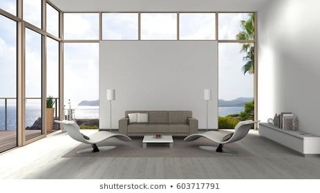 3d Rendering Of A Living Room With Glass Front Windows Terrace