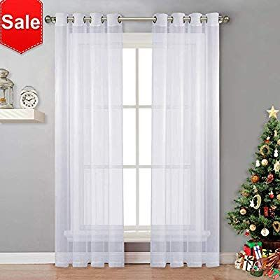 Amazon Com Nicetown Sheer Window Curtain Panels Solid White
