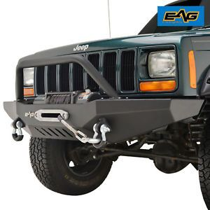Eag Front Bumper With Winch Plate Winch Plate Fit 84 01 Jeep