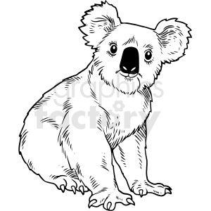 Black And White Realistic Koala Bear Vector Clipart Bear Vector Vector Clipart Koala Bear