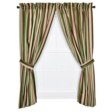Ellis Curtain Montego Stripe Green 84 X 82 Inch Panel Pair With