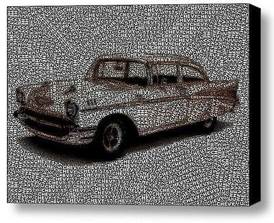 57 Chevy Chevrolet Word Mosaic INCREDIBLE Framed 9X11 Limited Edition Art w/COA