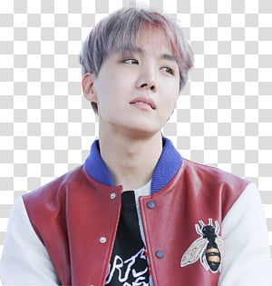 J Hope Bts Man Wearing Red And White Leather Snap Bomber Jacket Transparent Background Png Clipart Wearing Red Red Velvet Suit Black And White Jacket
