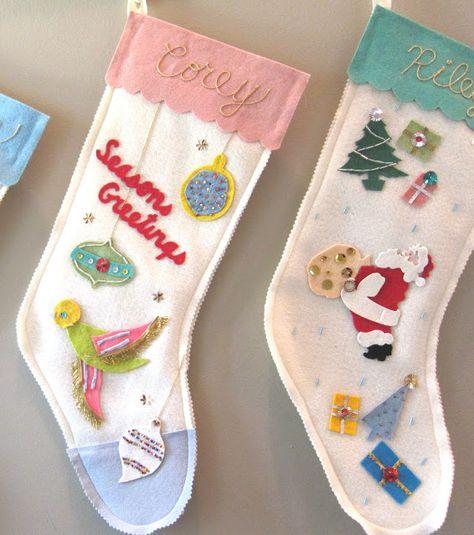 Want to make vintage felt appliqué stockings