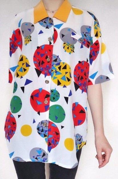 Cool oversized white floral patterned festival vintage blouse
