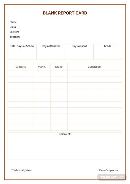 Free Blank Report Card Template Pdf Word Doc Apple Mac Apple Mac Pages Report Card Template School Report Card Report Card