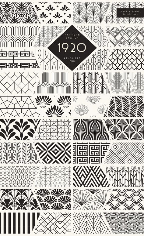 Diseños y Texturas 1920 Art Deco Seamless Patterns by The Paper Town on Creative Market you can find similar pins below. Motif Art Deco, Art Deco Design, Art Designs, Art Deco Style, Art Nouveau Pattern, Zentangle Drawings, Zentangle Patterns, Zentangles, Paper Patterns