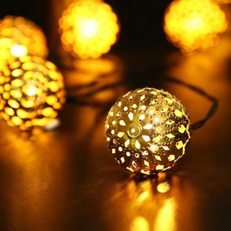 Solar Powered 10 White Balls String Fairy Lights Outdoor Patio Garden Decorative