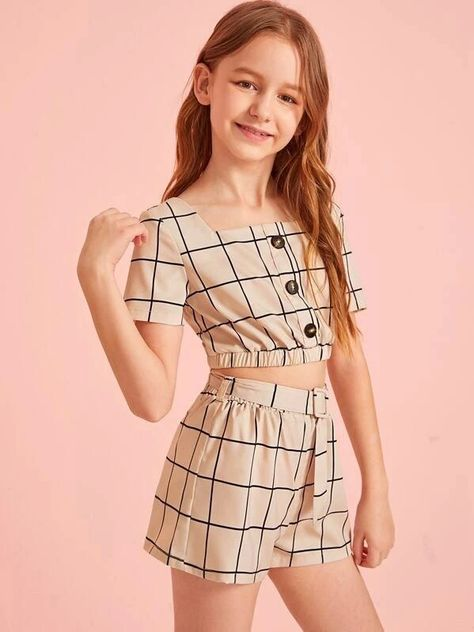 Girls Button Detail Grid Top And Buckle Belted Shorts Set – Kidenhouse