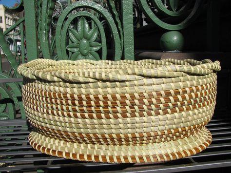 Charleston South Carolina Sweetgrass Handmade Vase/ Basket Signed Baskets Decorative Collectibles
