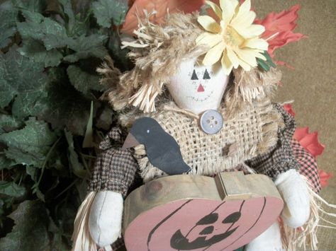 Muslin and Burlap Scarecrow Doll Girl with Jack by TKSPRINGTHINGS, $15.95