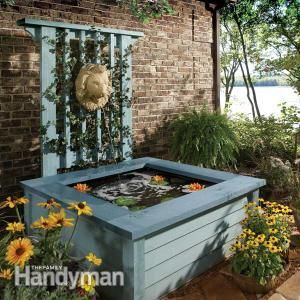 Build this simple, above-ground pond in a weekend. It features a fountain and a trellis. Its attractive, yet you avoid the tough digging chore. Plus its less of a hazard for toddlers than an in-ground pond.