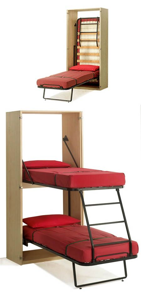Space Saving Fold Down Bunk Bed // for small spaces - genius! #furniture_design