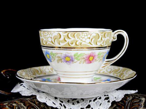 Royal Standard Teacup, Tea Cup and Saucer, Grecian, Vintage Tea Cup and Matching Saucer 12817