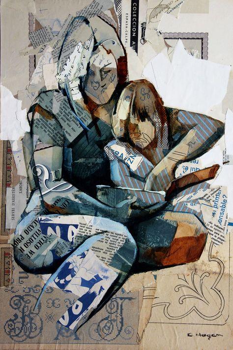 Lectura – Collage Art Printed on Metal - 36\ x 24\ / Metal