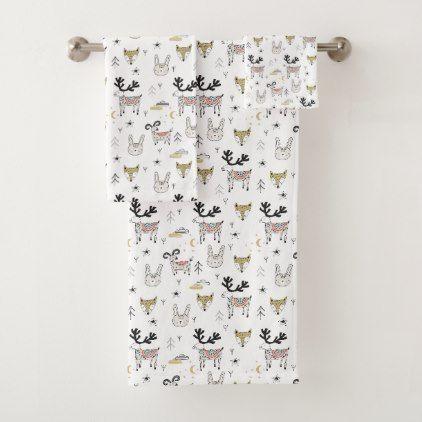 Cute Woodland Animal Doodle Pattern Bath Towel Set Zazzle