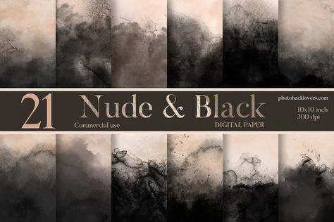 Nude Black Watercolor digital Paper