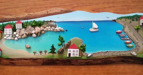 Tas Boyama Tablo Manzara Deniz Stone Art