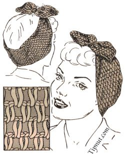 Vintage hair wrap, free pattern - good grief, I'm old enough to remember these! #crochet